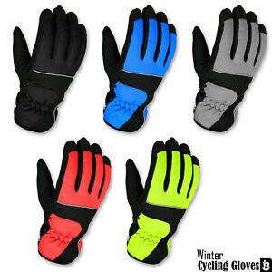 Hiver-Cyclisme-Moto-Plein-doigt-Gants-avec-interieur-polaire-Vent-Moufles