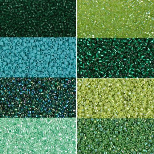 Grasgrün Miyuki Delica Beads rund 11//0 1,6mm hellgrün dunkelgrün a 5 Gramm