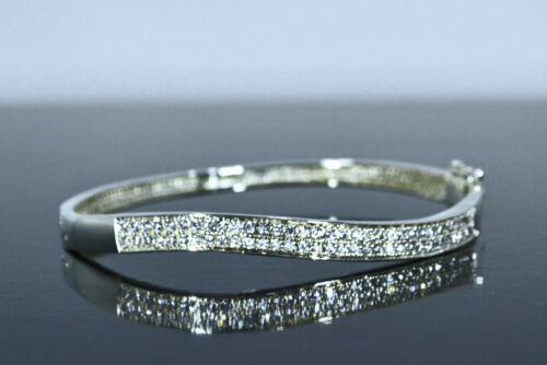 Ladies 925 Solid Sterling Silver Hinged Bangle Wave Bracelet Inset with Zirconia