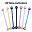 Industrial-Scaffold-Piercing-Ball-Barbell-Ear-Bar-Surgical-Steel-Colour-16g-14g thumbnail 1