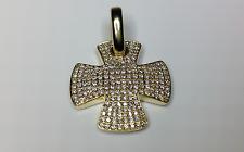 Estate 18K Yellow Gold Susan B Designer Cross 2.00 CTW Diamond Pendant 12 Grams