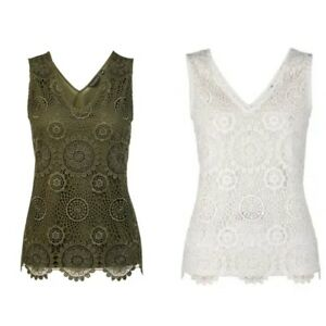 NEW-Ex-DP-Ladies-Lace-Front-Vest-Top-Plus-size-Top-Size-18-28-Khaki-Ivory
