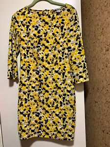 NWOT-H-amp-M-Dress-Woman-039-s-Yellow-White-Gray-Black-3-4-Sleeve-Size-2-Polyester-Blend