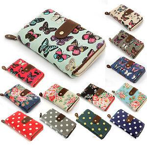 Ladies-Vintage-Butterfly-Owl-Flower-PolkaDot-Folded-Zip-Wallet-Purse-Bag-Clutch