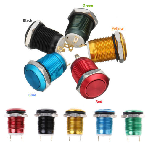 1Pc 2 Pins 12mm car computer waterproof momentary metal push button switch FG