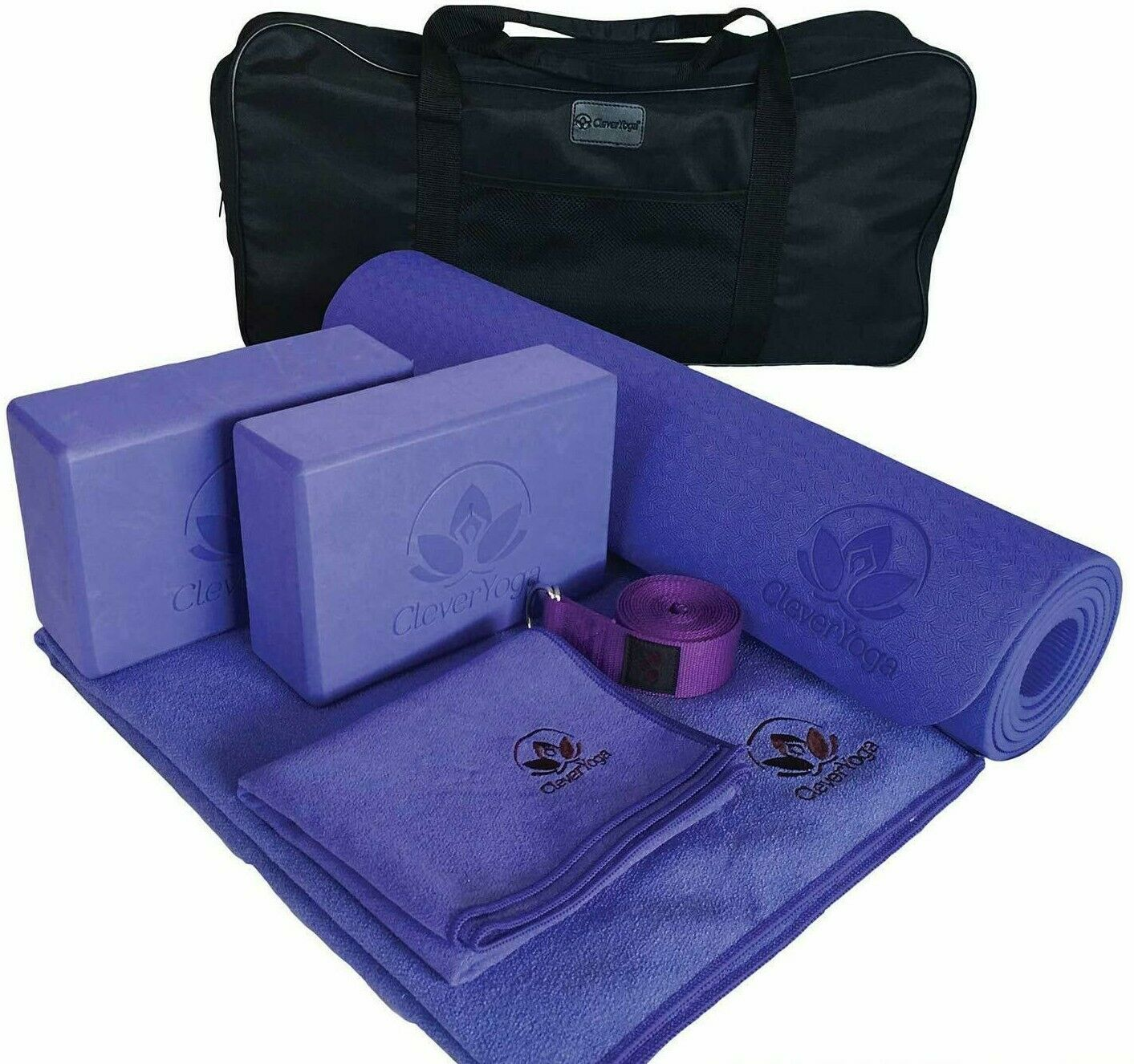 Yoga Set Kit 7-Piece Yoga Mat, Towel, 2 Blocks,Strap, Hand Towel Case Hot Birkam