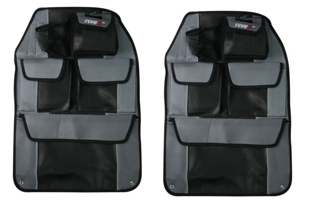 2 x Luxury Back Seat Organiser Tidy Sportex Type S Synthetic Leather Blue Black