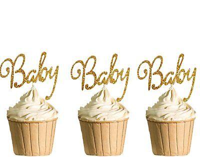 Polka Dot Sky Oh Baby Cupcake Deckel Geburtstag Gold Glitter Dusche 6pack Pack SchöNe Lustre