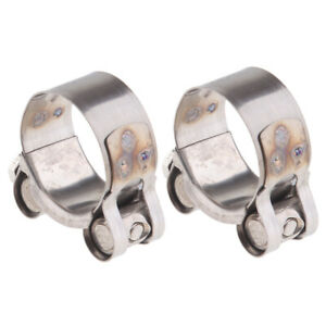2Pcs-32-35mm-Heavy-Duty-Stainless-Steel-Motorcycle-Exhaust-Banjo-Clamp-Clip