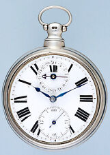 Large Silver English Calendar Verge Pocket Watch