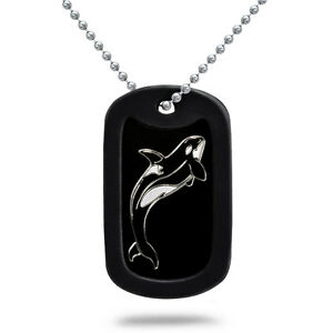 Made in usa aluminum dog tag necklace with engraved orca killer image is loading made in usa aluminum dog tag necklace with aloadofball Choice Image