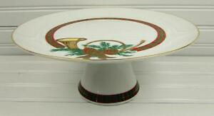 The-Hunt-by-Georges-Briard-Footed-Cake-Plate-Red-amp-Green-Plaid-Band-Bow-Horn
