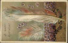 Bird Feather & Flowers Gilt Gel Finish c1910 Birthday Postcard #1