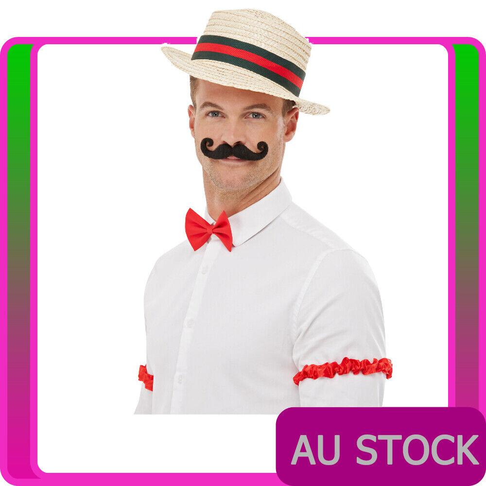 Mens 1920s Barber Shop Costume Hat Tash Bowtie Red Arm Garter Gangster Gatsby