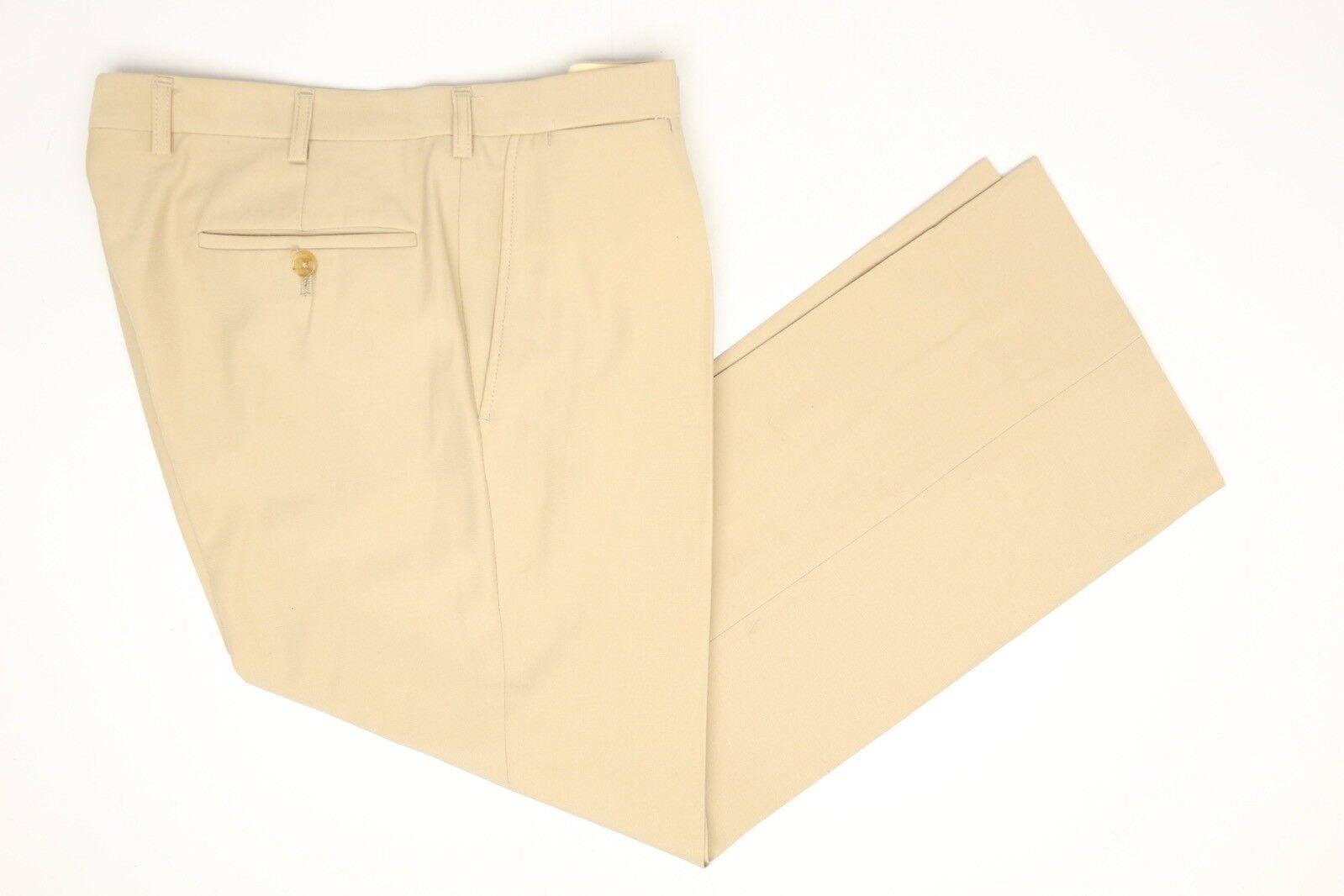 Vintage Chester Barrie Laine Pantalon 34x27 Solide Beige Plissé Angleterre