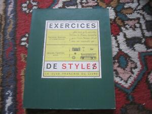 Raymond Queneau Carelman Exercices De Style Club Francais Du Livre 1964 Massin Ebay