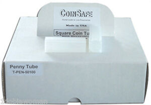 CoinSafe Square Tube-Made in USA 100 Coin Safe CENT Penny Square Coin Tubes