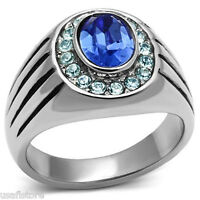 Mens Oval Shape Simulated Sapphire Crystal Silver Stainless Steel Ring