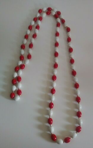 Vintage Lucite Necklace Red & White Gold Tone Bead