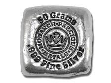 1  -  50 Gram. 999 Fine Silver Bar - Monarch - Hand Poured - Uncirculated