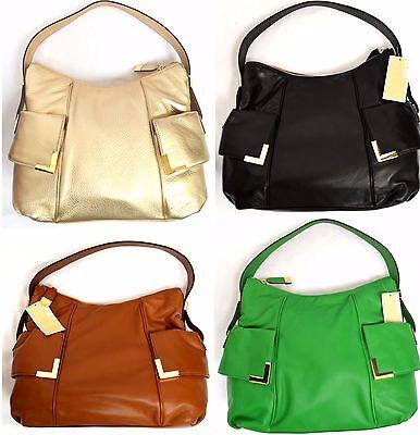 MICHAEL Michael Kors Beverly Leather Large Top Zip Hobo Shoulder Handbag Authent