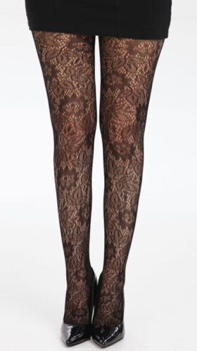 One Size UK Size 8-14 Pamela Mann Open Leaf Knit Patterned Tights