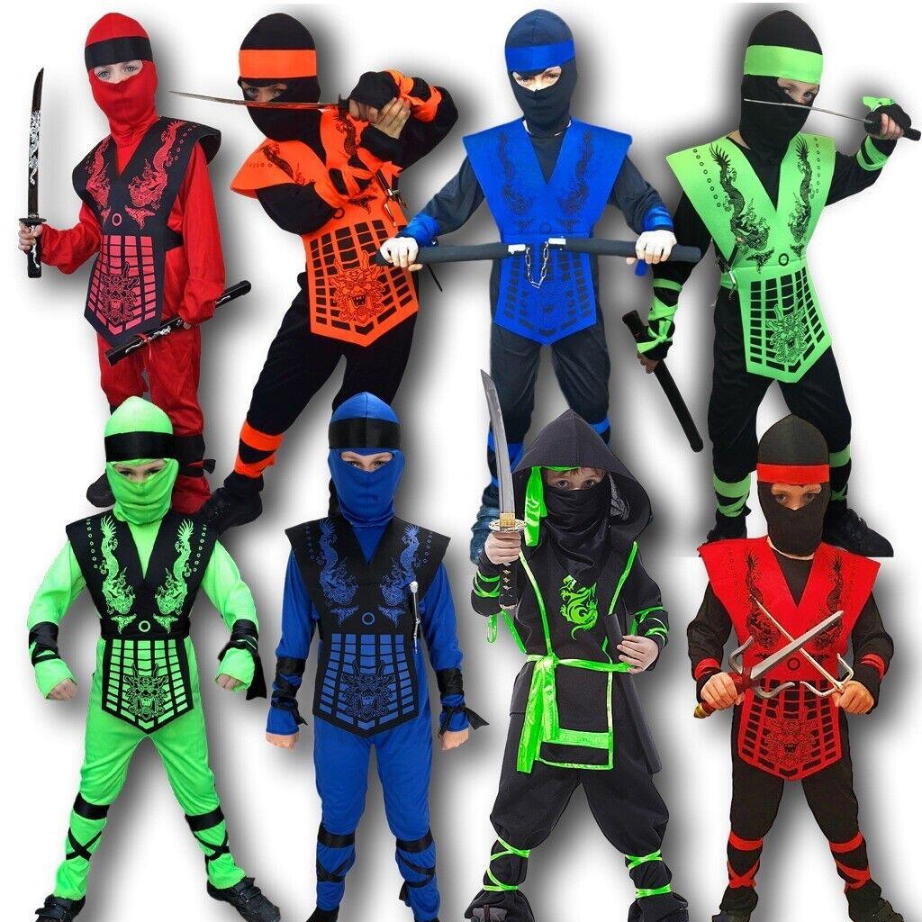 Japanese Warrior Boys Green Fancy Dress Halloween Costume NEW Power Ninja