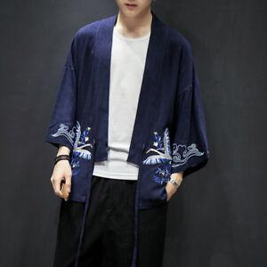 Men Japanese Kimono Baggy Coats 3//4 Sleeve Long Jackets Coat Outwear Tops Winter
