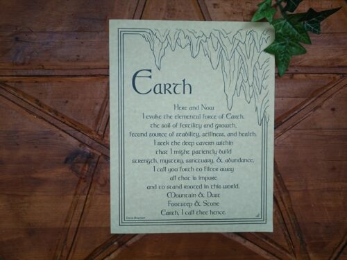 Witches Earth Evocation poster Spells Altar Pagan Wiccan Witchcraft