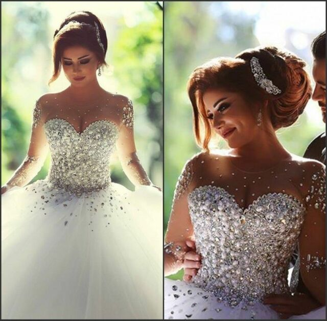 Luxury Sparkly Beading Tulle Ball Gown Elegant Lace up Wedding Dress ...