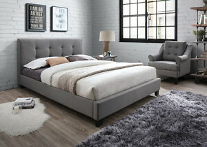 sneakers for cheap 66885 04a46 Details about Artisan 5FT Kingsize Light Grey Fabric Bed With Buttoned  Headboard