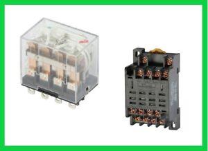 Relais  4xUM 10A  14PIN  230V AC LED  Relais Sockel  Hutschienen