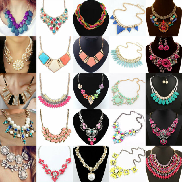 Fashion Charm Crystal Bib Chain Statement Choker Collar Pendant Necklace Party