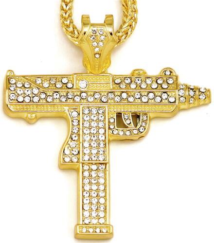 Uzi Pistola Collar Nuevo Iced Out Colgante con 91.4cm 4mm Franco Estilo Cadena