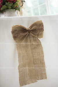 """Burlap Bow(s) 12""""x 6""""with 18"""" Streamers & Your Choice of Lace -Weddings-Sp Event"""