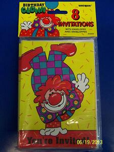 Birthday Clown Bozo Circus Carnival Yellow Kids Party Invitations W