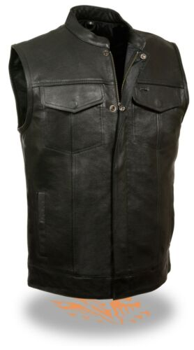 Men/'s 1/%er Leather Club Style Vest w// Zipper /& Snap Front 2 Inside Gun Pockets