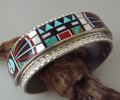 Spectacular Zuni R&L VACIT Sterling Silver Mosaic Inlay Cuff Bracelet SIGNED