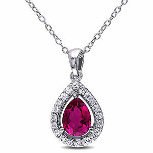 Haylee Jewels Sterling Silver Created Ruby Created White Sapphire Halo Necklace