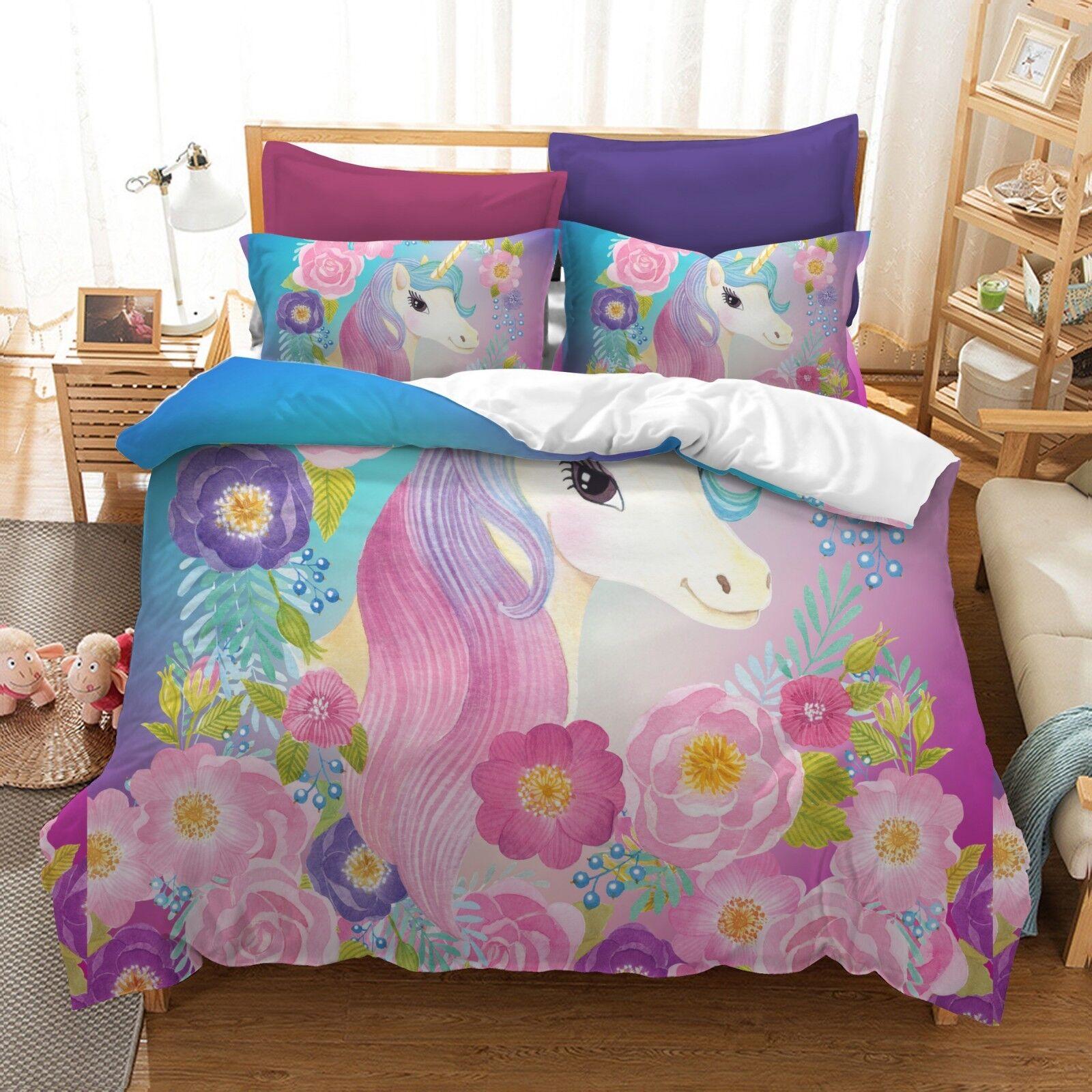 3D Fantasy Unicorn Duvet Cover Kids Bedding Set Pillow Case Quilt Cover Flowers