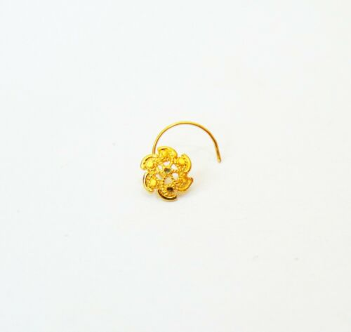 Indian Floral Nose Ring 22k Gold Plated Crock Screw Nose Pin Stud Nose Piercing