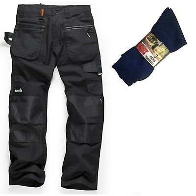 Scruffs Ripstop Multi-pocket Work Trousers Black & 3 Pairs Of Boot Socks