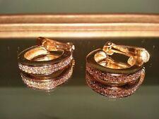 SALE DIOR Earrings Vintage Gold Tone Rhinestone Chris Dior Clip Hoop Costume HOT