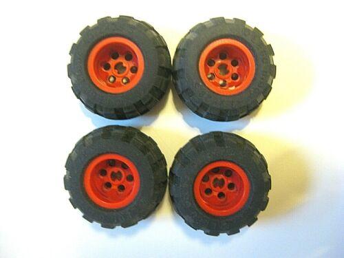 Lego 43.2x28 S Technic Wheels LOT OF 4 Tires Black Balloon Tires RED RIMS