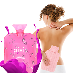 Hot Water Bottle With Cover PVC Ice Bag Warm Relaxing Heat Cold Therapy - Pink