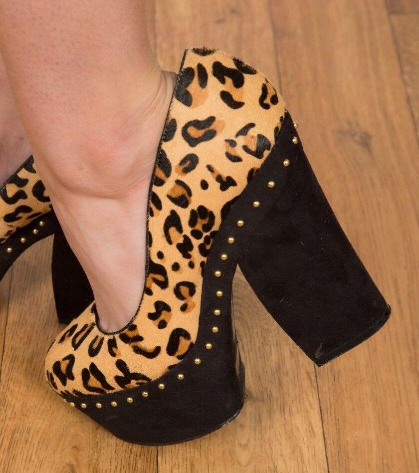 Topshop leopard print pony hair or studded platform platform platform heels Taille 5 dc5612