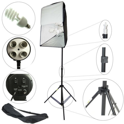 DynaSun ES470KIT 50x70cm 4in1 E27 Studio Kit Softbox mit 4 Tageslichtlampe Blitz