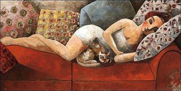 DIDIER Lourenco  SIESTA barella-immagine Schermo Donna Gatto sdraiato DIVANO