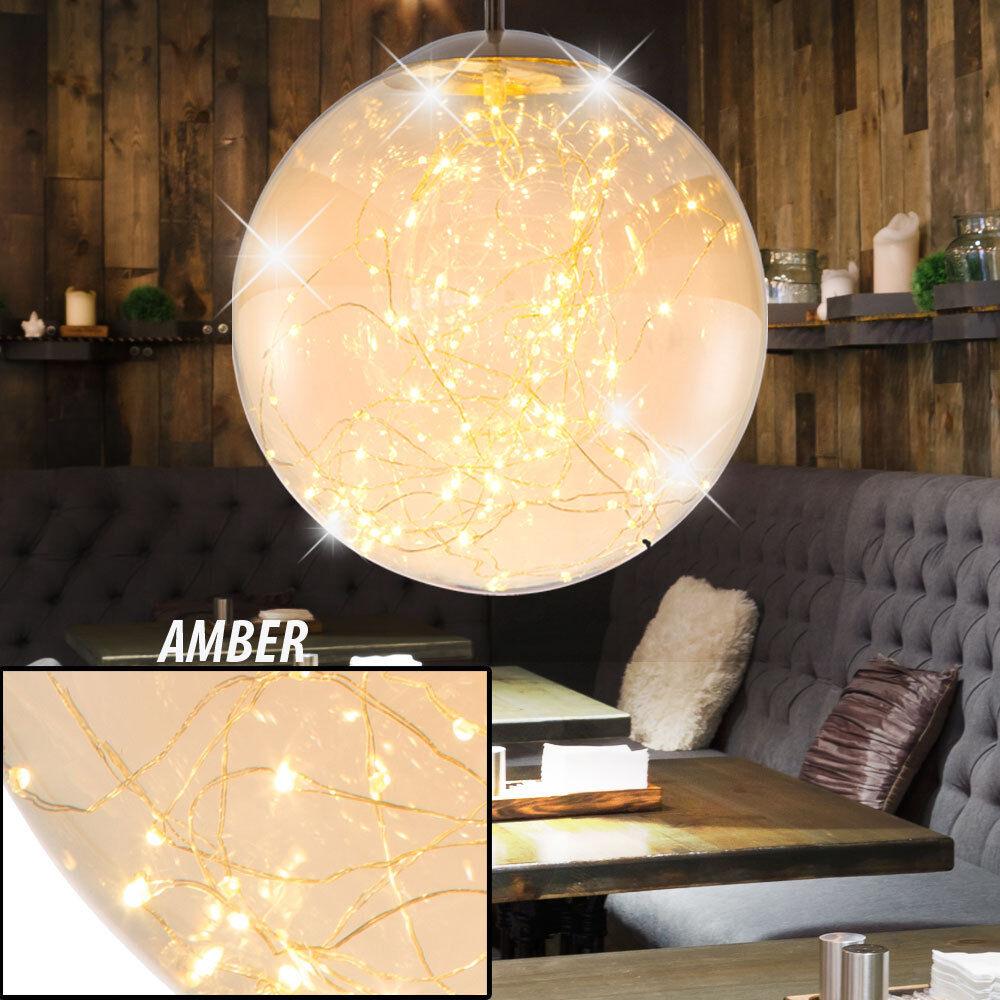 LED Hänge Decken Strahler Ess Zimmer Glas Kugel Form Pendel Decken Lampe Amber