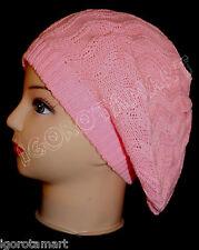 Baby Pink Hat Knit Beret Ski Beanie PolyCotton Caps Hats